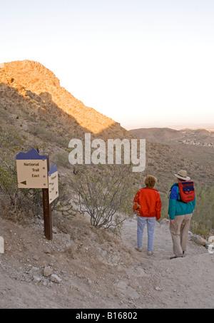 Caucasian Couple 50-60 Years Hike at South Mountain Park Phoenix AZ USA - Stock Photo