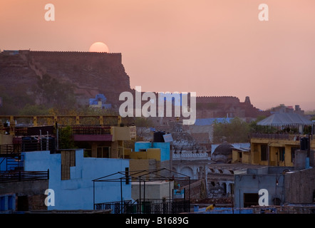 SUNRISE illuminates the city of JOHDPUR also known as the BLUE CITY RAJASTHAN INDIA - Stock Photo