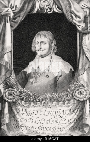 Christian IV of Denmark 1577 to 1648 King of Denmark and Norway Duke of Holstein After an engraving by Johann Alexander - Stock Photo