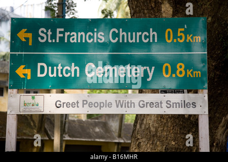 A street sign in Kochi in Kerala, India. - Stock Photo