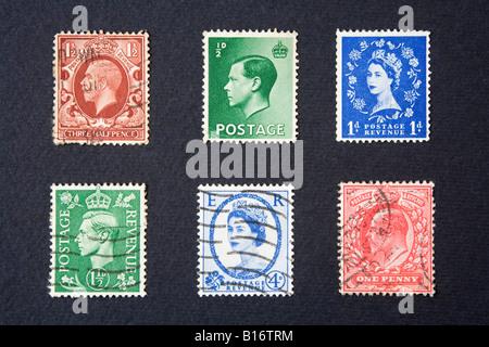 Pre decimal British postage stamps - Stock Photo