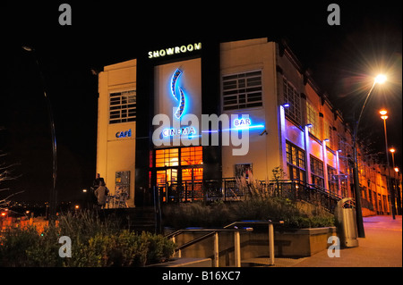 A night time scene of the Showroom Cinema,cafe and bar located on Paternoster Row, Sheffield and close by Sheffield - Stock Photo