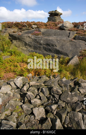 A view of Mother Cap a rock formation on Hathersage Moor in the Peak District in Derbyshire - Stock Photo