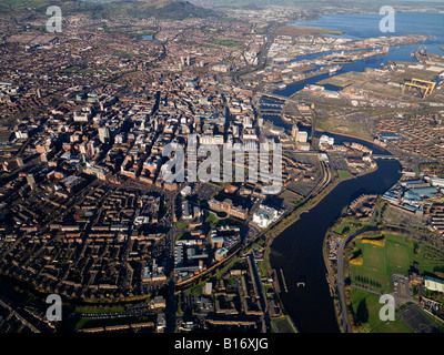 Aerial view of Belfast Northern Ireland - Stock Photo