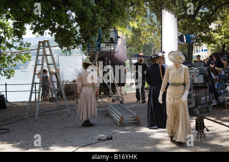 Opatija Istria Croatia Europe May The town park Angiolina is being used as a movie set female actors in period costume - Stock Photo