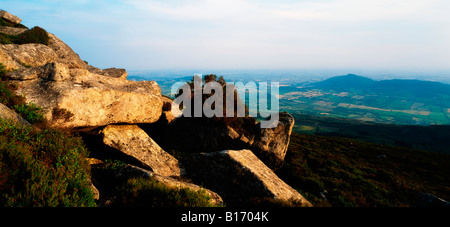 Carnlough Mountain from Slieve Gullion, Co Armagh, Ireland - Stock Photo