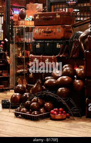 Leather Goods Stall in the Stables Market at Camden - Stock Photo