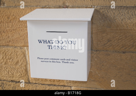 'What do you think' - Comments and suggestion box at English Stately Home, England,UK - Stock Photo