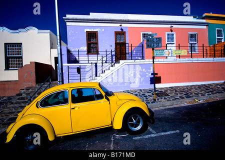 Beetle parked in a Bo Kaap street, Cape Town - Stock Photo