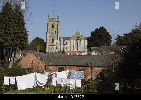 Washing on Line St Nicholas Church Montgomery - Stock Photo