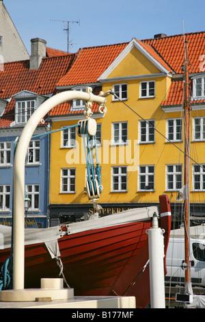 Lifeboat on ship moored in Nyhavn canal, Copenhagen, Denmark. - Stock Photo
