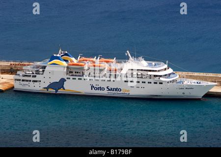 The Madeira-Porto Santo ferry in the port of the Portuguese Atlantic island of Porto Santo. - Stock Photo
