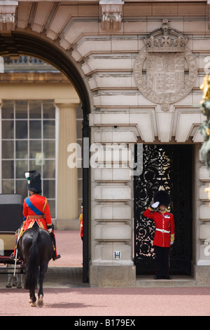 Rehearsal for the Trooping of the Colours ceremony in London, Prince Charles is saluted on his return to Buckingham - Stock Photo