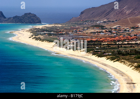 View of the beach seen from the Portela lookout point on the Portuguese Atlantic island of Porto Santo. - Stock Photo