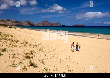 View along the beach of the Portuguese Atlantic island of Porto Santo. - Stock Photo