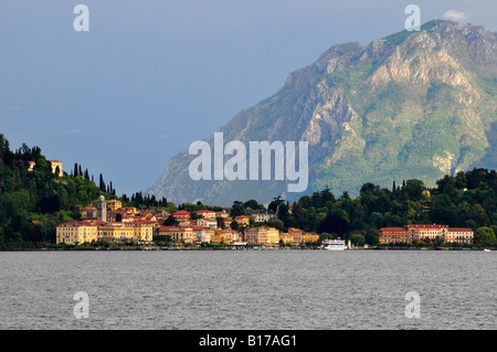 A landscape scene taken from the lake approaching this lovely Italian town Bellagio on the shores of Lake Como in - Stock Photo