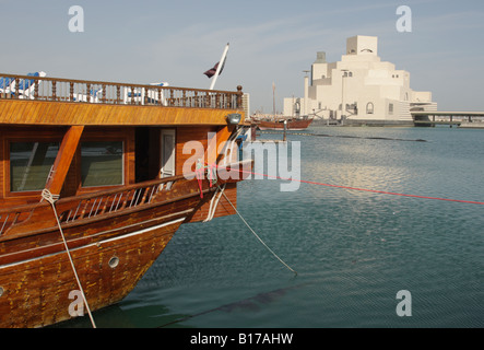 View from the dhow harbour towards the Museum of Islamic Art in Doha,Qatar, build by the architect I.M.Pei. - Stock Photo