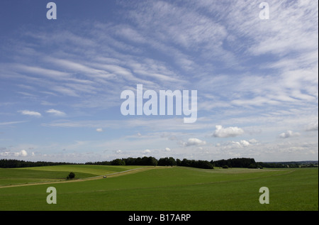 White foehn clouds over a Bavarian landscape,Germany. - Stock Photo