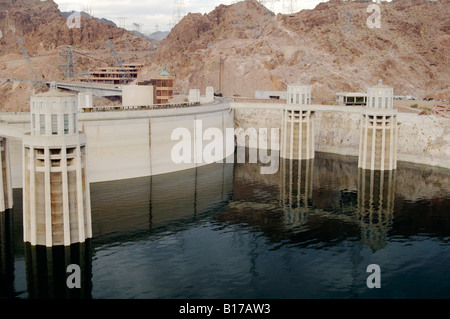 Hoover Dam located on the Colorado River between Nevada and Arizona, built for hydroelectric power generation - Stock Photo