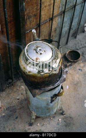 Teapot outside a home in Beijing's Dazhalan neighbourhood. - Stock Photo