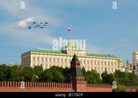 Russian 'Swifts' and 'Russian Knights' fly in formation over the Grand Kremlin Palace, Moscow Victory Day parade, - Stock Photo