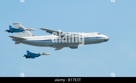 Antonov An-124 military cargo plane in 'fly-past' during Russian Victory Day parade in Moscow, 9 May 2008. - Stock Photo
