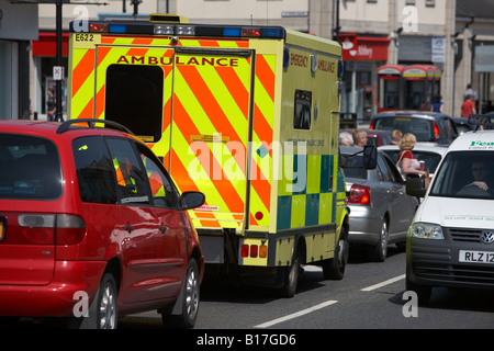 northern ireland ambulance service emergency ambulance sitting in middle of traffic downpatrick county down northern - Stock Photo