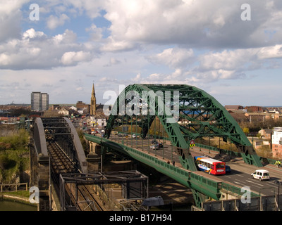 Road and Rail Bridge over the River Wear, Sunderland, England - Stock Photo