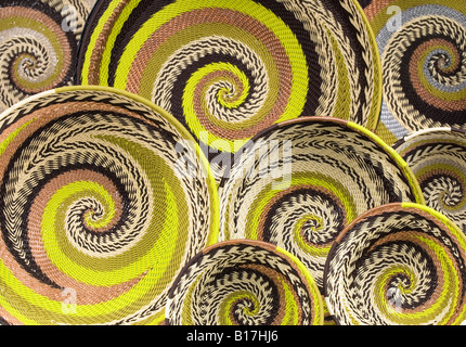 Woven wire baskets handmade by local artists in South Africa - Stock Photo