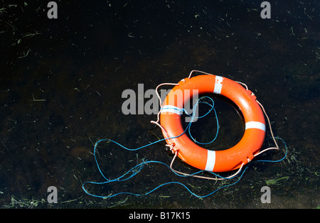 red lifebelt floating on dark lake water with cut grass discarded in county fermanagh - Stock Photo