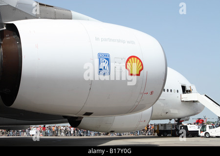 Airbus A380 new airliner powered by Rolls Royce Trent 900 jet engines and Shell oil fuel - Stock Photo