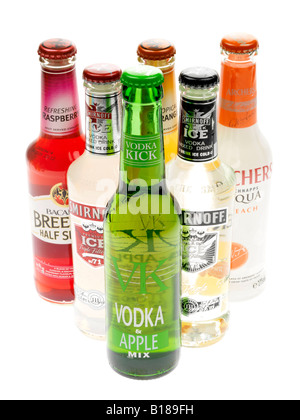 Assorted Colourful Bottles Of Alcohol Alchopops Party Drinks Isolated Against A White Background With A Clipping - Stock Photo
