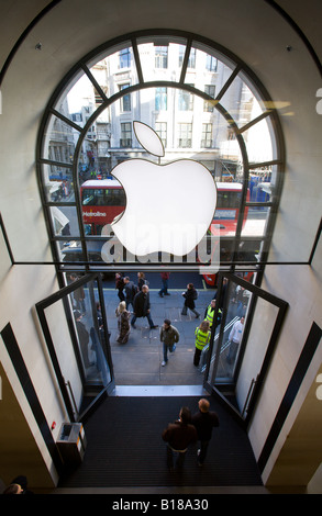 Entrance to Apple Store in Regent Street London - Stock Photo