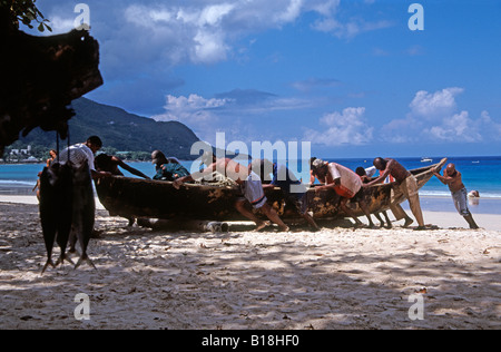 Beautiful Beau Vallon beach on Mahe, Seychelles, Indian Ocean - Stock Photo