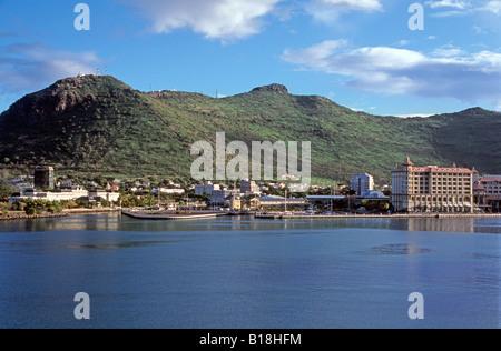 Port Louis harbour Caudan waterfront shopping centre Mauritius, Indian Ocean - Stock Photo
