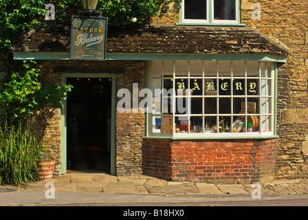 The old Bakery shop in historic English village of Lacock - Stock Photo