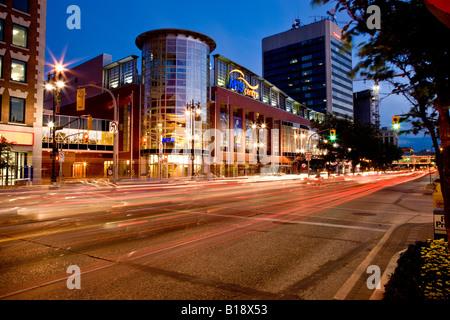 MTS Centre on Portage Avenue (home of the Manitoba Moose hockey team), Winnipeg, Manitoba, Canada. - Stock Photo