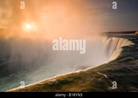 Niagara Falls at sunrise, Ontario, Canada. - Stock Photo