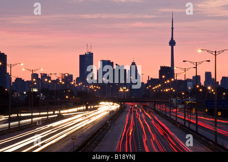 Toronto skyline and QEW highway with morning traffic, Toronto, Ontario, Canada. - Stock Photo