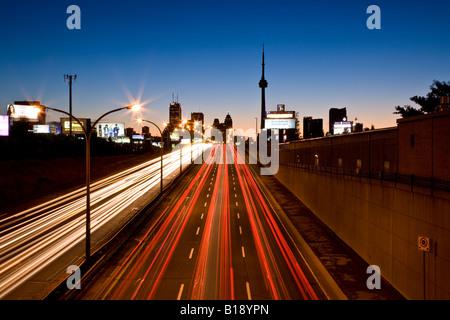 Toronto skyline and QEW in morning, Toronto, Ontario, Canada. - Stock Photo