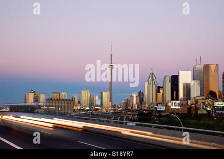 Toronto skyline and Don Valley Parkway in morning, Toronto, Ontario, Canada. - Stock Photo
