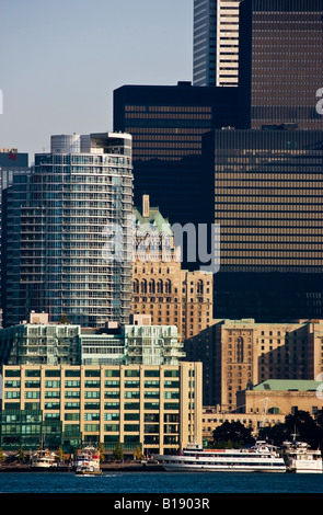 View of downtown Toronto from Centre Island, Toronto Islands Park, Toronto, Ontario, Canada. - Stock Photo