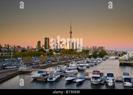 Toronto skyline and Ontario Place at sunset, Toronto, Ontario, Canada. - Stock Photo