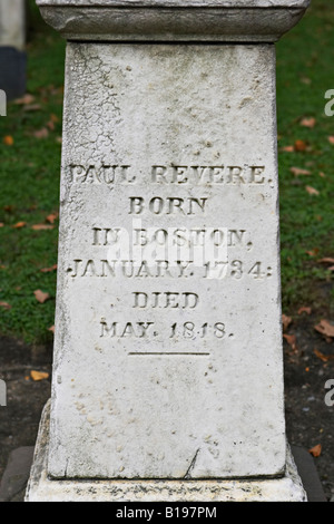 MASSACHUSETTS Boston Old Granary Burial Ground site along Freedom Trail Park Street Church Paul Revere grave marker - Stock Photo