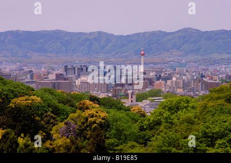 view over Kyoto from Kiyomizu Dera temple Kyoto Japan - Stock Photo