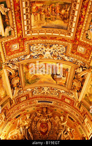 RICHLY DECORATED CEILING IN CORRIDOR OF THE VATICAN MUSEUM ,ROME,ITALY - Stock Photo