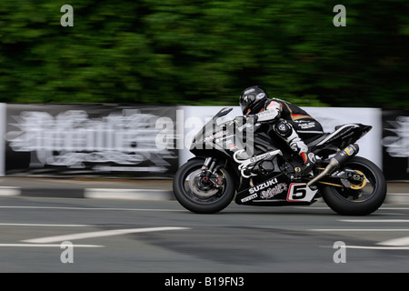 Bruce Anstey at Quarterbridge TT2008 - Stock Photo