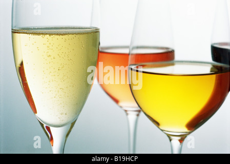 Variety of wines in wine glasses - Stock Photo