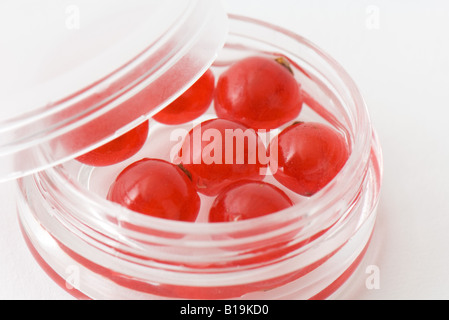 Red currants in small cosmetic container, close-up - Stock Photo