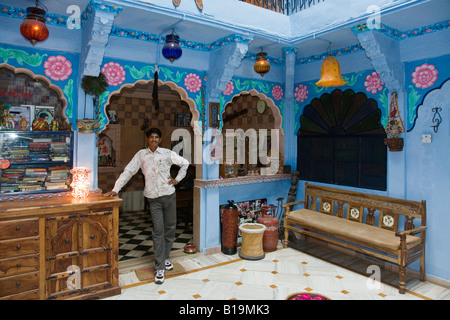 The lobby of YOGIS GUEST HOUSE which is listed in the Lonely Planet Guide to India JODHPUR RAJASTHAN INDIA - Stock Photo